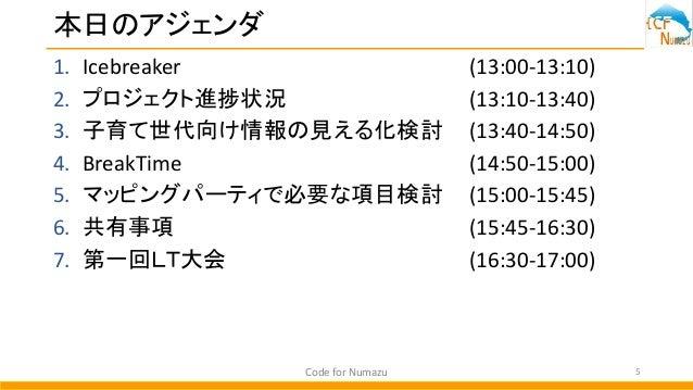 本日のアジェンダ 1. Icebreaker (13:00-13:10) 2. プロジェクト進捗状況 (13:10-13:40) 3. 子育て世代向け情報の見える化検討 (13:40-14:50) 4. BreakTime (14:50-15:...