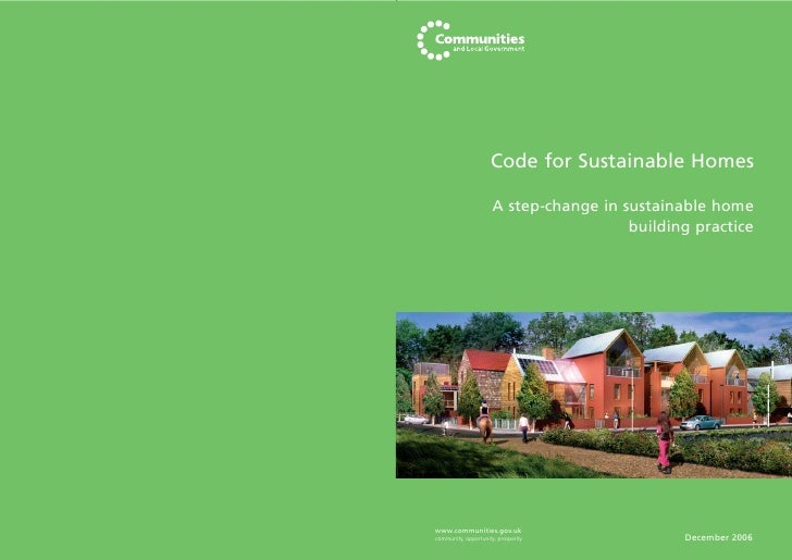 Code for Sustainable Homes                        A step-change in sustainable home                                       ...