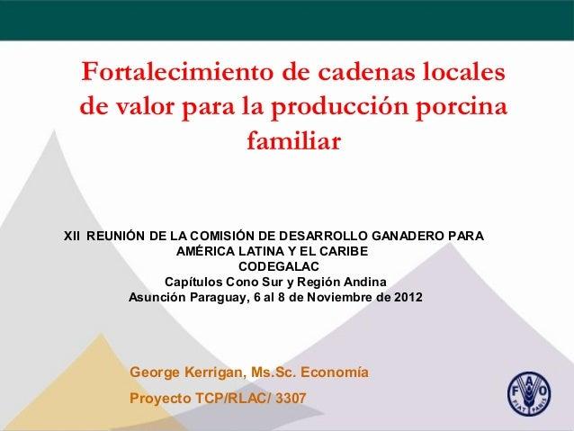 Fortalecimiento de cadenas locales de valor para la producción porcina                familiarXII REUNIÓN DE LA COMISIÓN D...