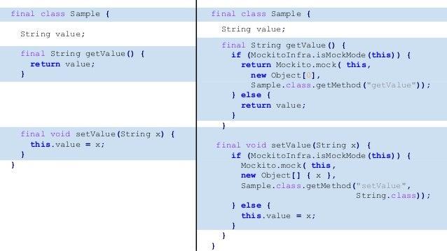 class MockitoInfra { static final WeakConcurrentMap<Object, MockitoHandler> mocks; static final ThreadLocal<Boolean> selfC...