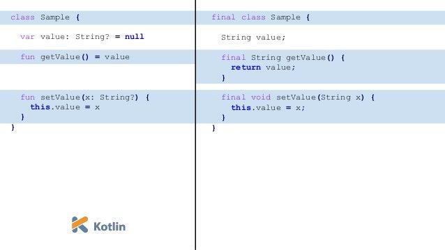 open class Sample { var value: String? = null open fun getValue() = value open fun setValue(x: String?) { this.value = x }...