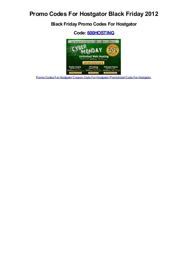 Promo Codes For Hostgator Black Friday 2012            Black Friday Promo Codes For Hostgator                             ...