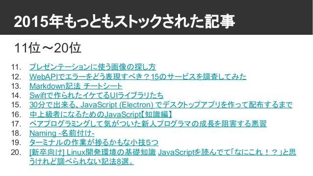2015年もっともストックされた記事 11位〜20位 11. プレゼンテーションに使う画像の探し方 12. WebAPIでエラーをどう表現すべき?15のサービスを調査してみた 13. Markdown記法 チートシート 14. Swiftで作ら...