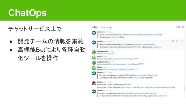 ChatOps チャットサービス上で ● 開発チームの情報を集約 ● 高機能Botにより各種自動 化ツールを操作