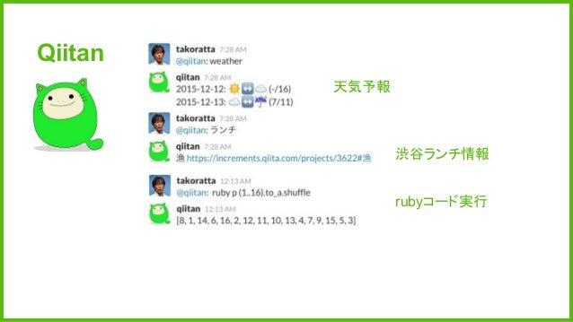 Qiitan 天気予報 渋谷ランチ情報 rubyコード実行
