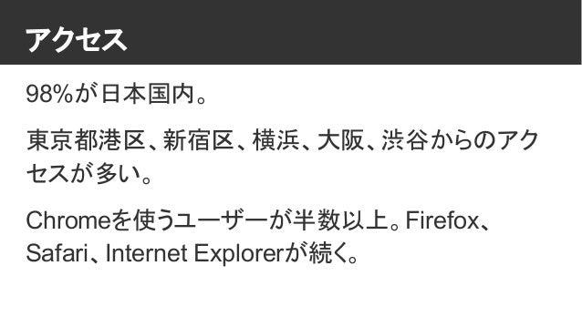 アクセス 98%が日本国内。 東京都港区、新宿区、横浜、大阪、渋谷からのアク セスが多い。 Chromeを使うユーザーが半数以上。Firefox、 Safari、Internet Explorerが続く。