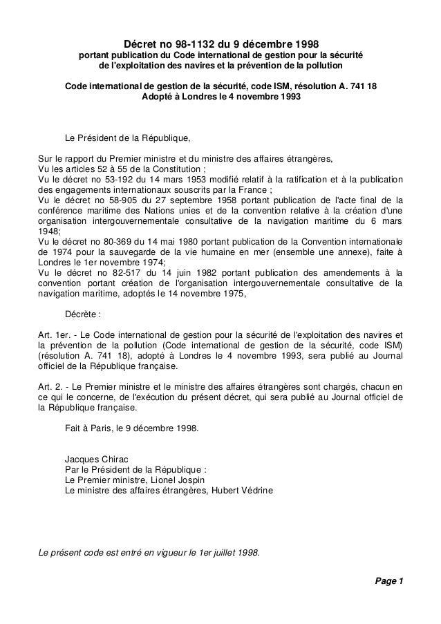 Décret no 98-1132 du 9 décembre 1998 portant publication du Code international de gestion pour la sécurité de l'exploitati...