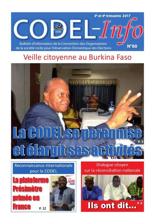 N°00 3è et 4è trimestre 2017 Veille citoyenne au Burkina Faso LaCODELsepérennise etélargitsesactivités LaCODELsepérennise ...