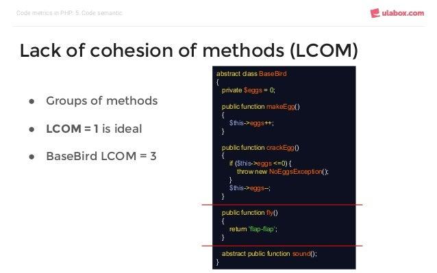 ● Groups of methods ● LCOM = 1 is ideal ● BaseBird LCOM = 3 Code metrics in PHP: 5. Code semantic Lack of cohesion of meth...