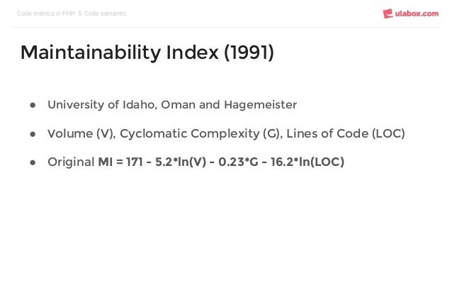 ● University of Idaho, Oman and Hagemeister ● Volume (V), Cyclomatic Complexity (G), Lines of Code (LOC) ● Original MI = 1...