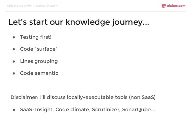 """● Testing first! ● Code """"surface"""" ● Lines grouping ● Code semantic Disclaimer: I'll discuss locally-executable tools (non ..."""
