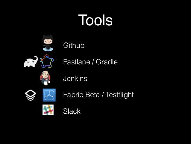 Tools Github Fastlane / Gradle Jenkins Fabric Beta / Testflight Slack