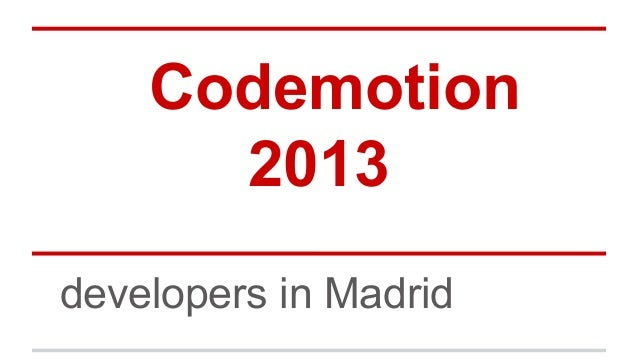 Codemotion 2013 developers in Madrid