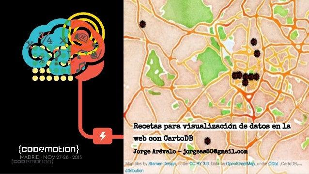 @jorgeas80 MADRID · NOV 27-28 · 2015 Recetas para visualización de datos en la web con CartoDB Jorge Arévalo - jorgeas80@g...