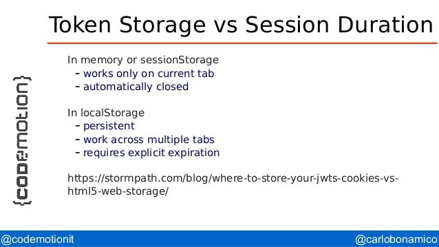 @carlobonamico@codemotionit Token Storage vs Session Duration In memory or sessionStorage – works only on current tab – au...