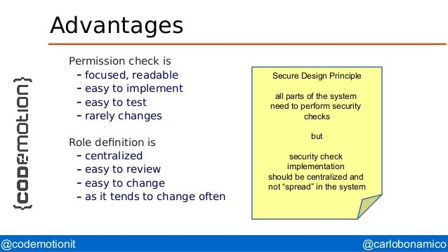 @carlobonamico@codemotionit Advantages Permission check is – focused, readable – easy to implement – easy to test – rarely...