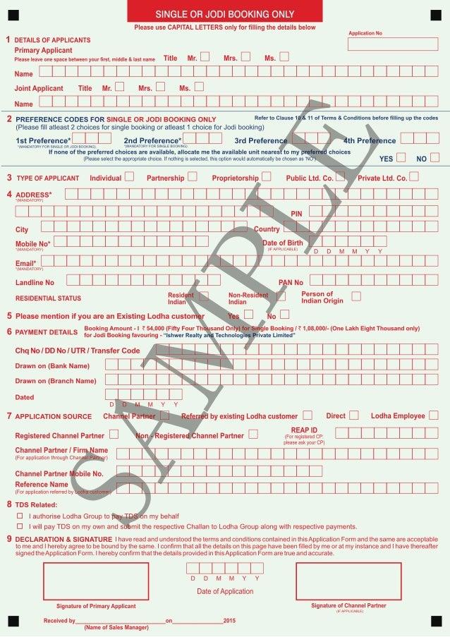 Lodha Codename Big Bang Application Form Sample