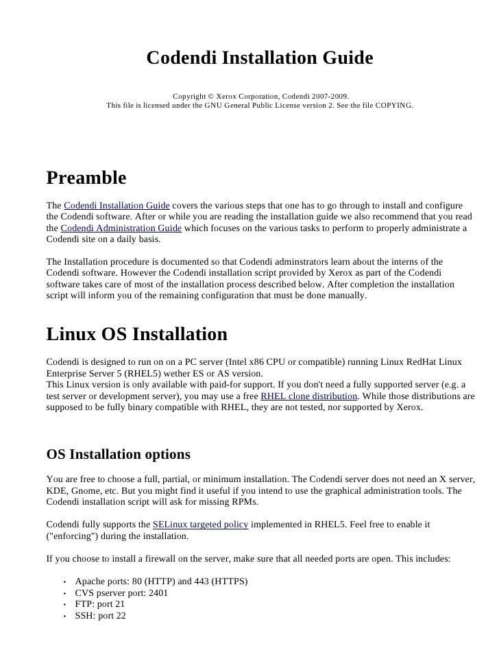 Codendi Installation Guide                                      Copyright © Xerox Corporation, Codendi 2007-2009.         ...
