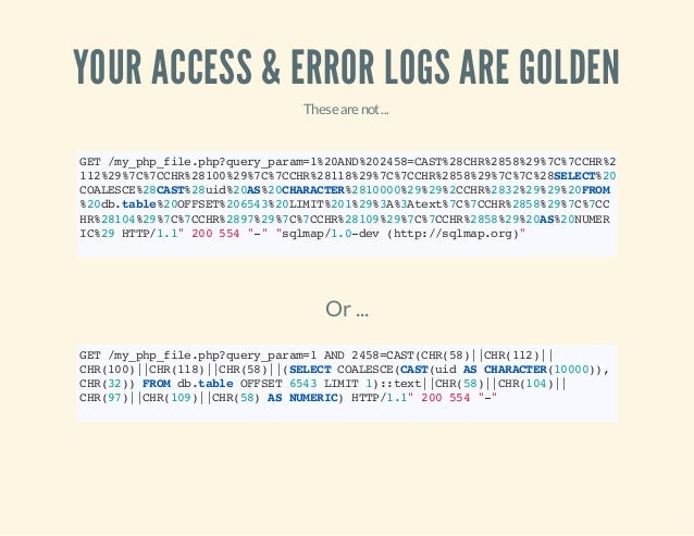 YOUR ACCESS & ERROR LOGS ARE GOLDEN Thesearenot... GET/my_php_file.php?query_param=1%20AND%202458=CAST%28CHR%2858%29%7C%7C...
