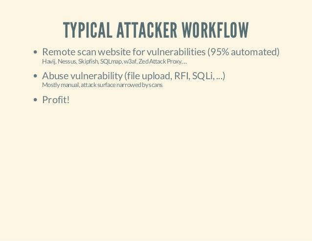 TYPICAL ATTACKER WORKFLOW Remote scan website for vulnerabilities (95%automated) Havij,Nessus,Skipfish,SQLmap,w3af,ZedAtta...