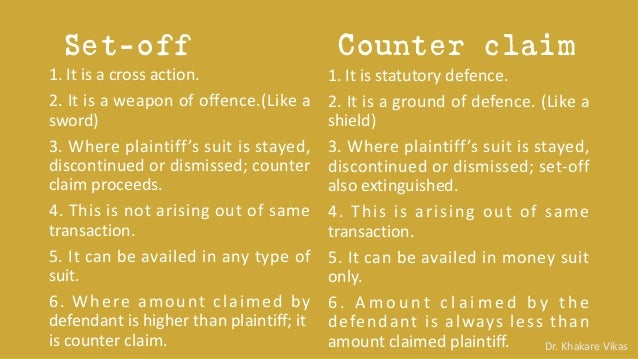 set off and counterclaim