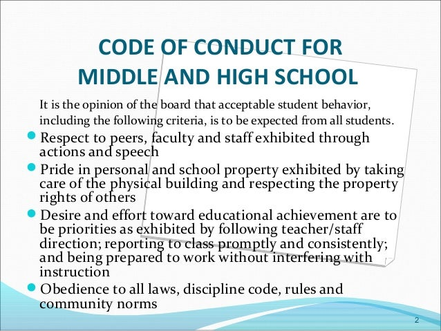 The student code of conduct of