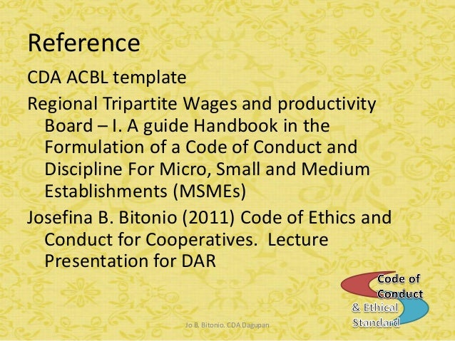 Code of conduct ethical standard a guide for cooperatives cda dagupan 46 maxwellsz