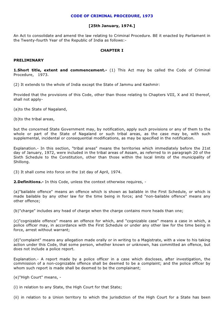 CODE OF CRIMINAL PROCEDURE, 1973                                         [25th January, 1974.]An Act to consolidate and am...
