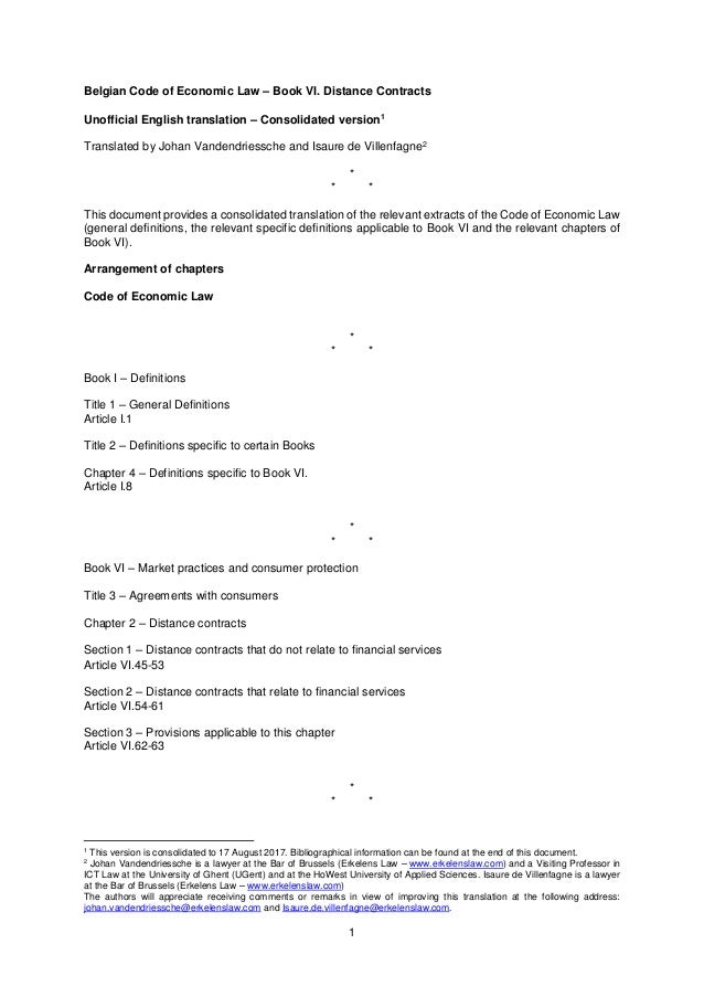 1 Belgian Code of Economic Law – Book VI. Distance Contracts Unofficial English translation – Consolidated version1 Transl...
