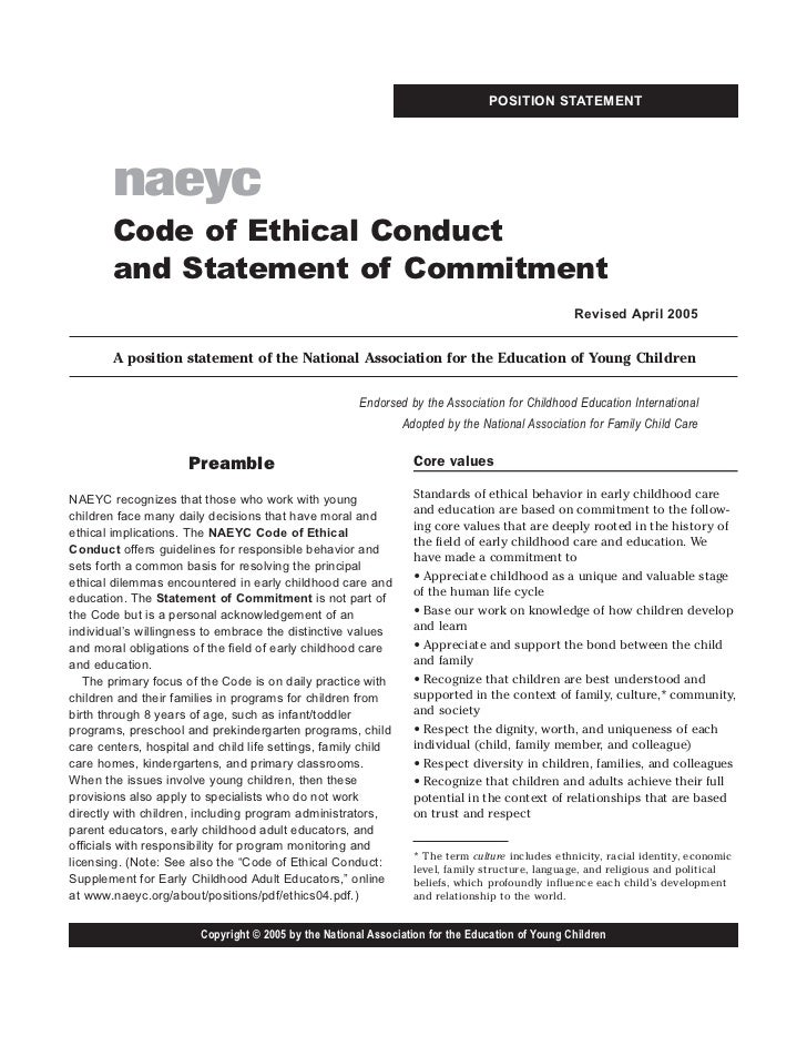 naeyc code of ethics Question 18 of 20 50/ 50 points what is the first and most important principle in  the naeyc's code of ethical conduct unlocks icon subscribe to course.