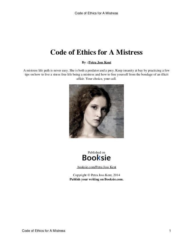 Code Of Ethics For A Mistress By Petra Joss