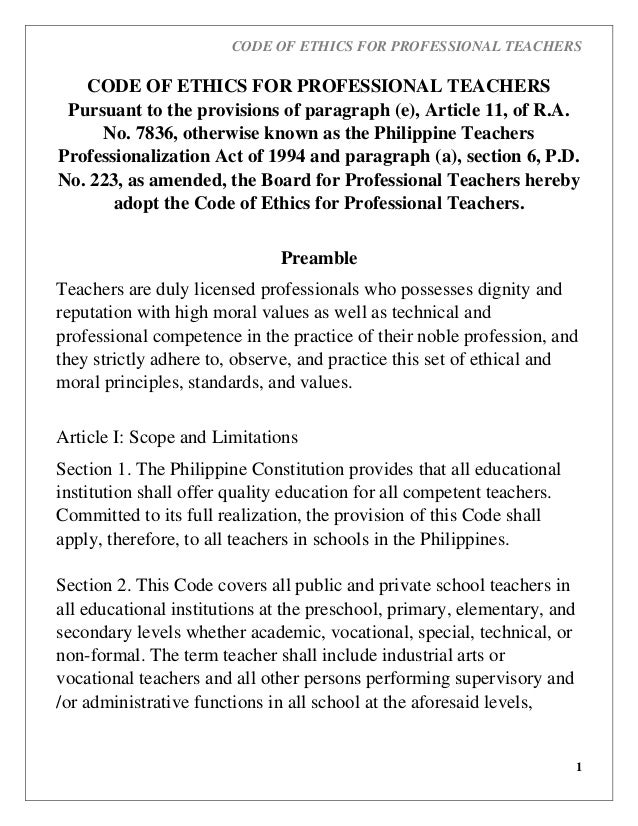 CODE OF ETHICS FOR PROFESSIONAL TEACHERS 1 CODE OF ETHICS FOR PROFESSIONAL TEACHERS Pursuant to the provisions of paragrap...
