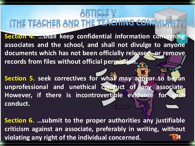 essays on code of ethics for teachers Home essays ethics for teachers ethics for teachers topics like doctors have their code of ethics, i'm assuming teachers have their own as well(schumacher popular essays absolute monarchy 10.