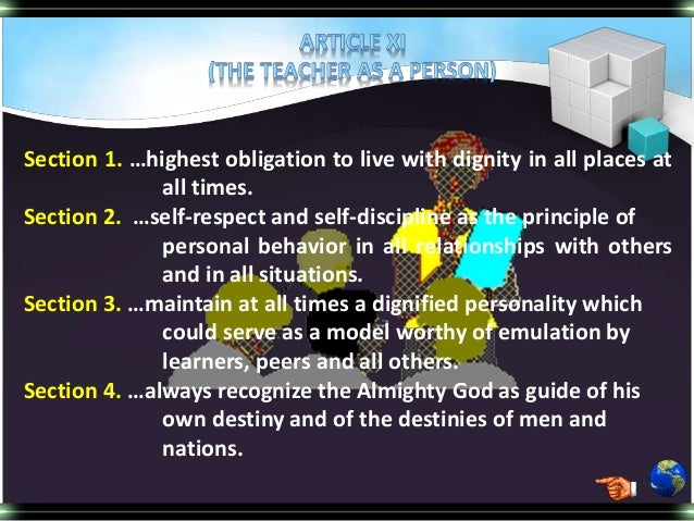 teacher code of ethics Teachers' code of conduct rules of professional conduct for teachers in ghana with input from: the national review committee and community groups.