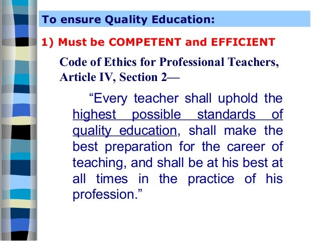 Teacher's professional code of conduct.