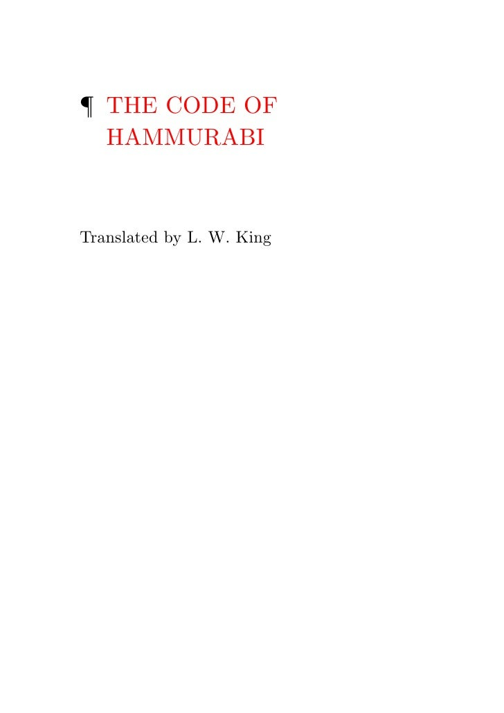 ¶ THE CODE OF  HAMMURABITranslated by L. W. King