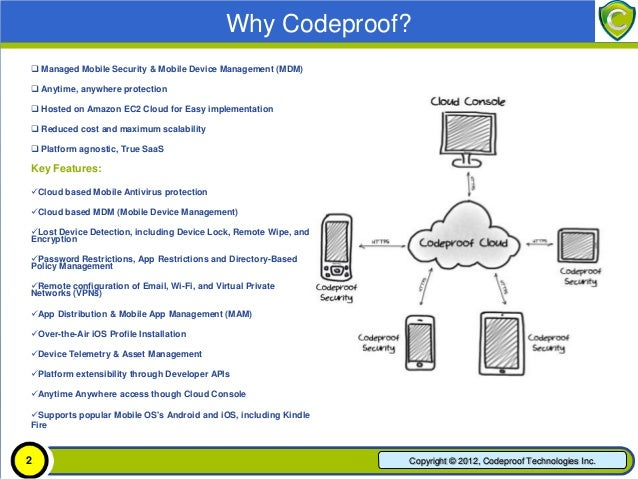 Why Codeproof?  Managed Mobile Security & Mobile Device Management (MDM)  Anytime, anywhere protection  Hosted on Amazo...