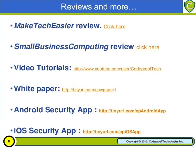 Reviews and more…    • MakeTechEasier recommends Codeproof MDM      to small businesses. Click here    • Demo Video: http:...