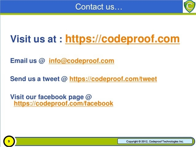 Contact us…    • For more, visit: https://codeproof.com    • Email us @ info@codeproof.com    • Send us a tweet @ https://...