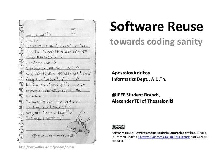 Software Reuse: Towards coding sanity Slide 3