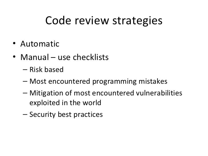 java code review checklist