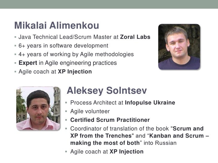 Alimenkou Mikalai<br />Java Technical Lead/Scrum Master at Zoral Labs<br />6+ years in software development<br />4+ years ...