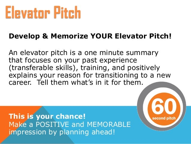 Develop U0026 Memorize YOUR Elevator Pitch!