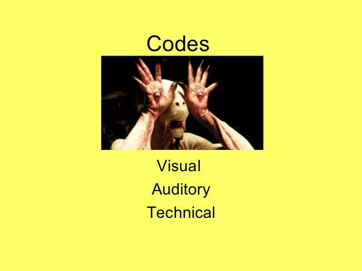 Codes Visual  Auditory Technical