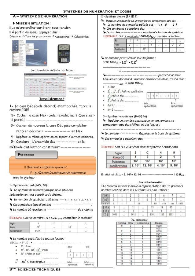 Systèmes de numération et codes A – Système de numération I- MISE EN SITUATION :  Le micro ordinateur étant sous tension ...