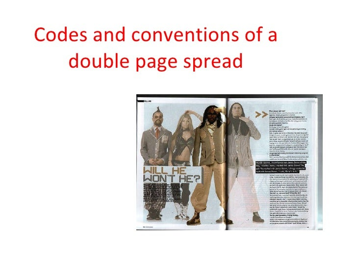 Codes and conventions of a double page spread
