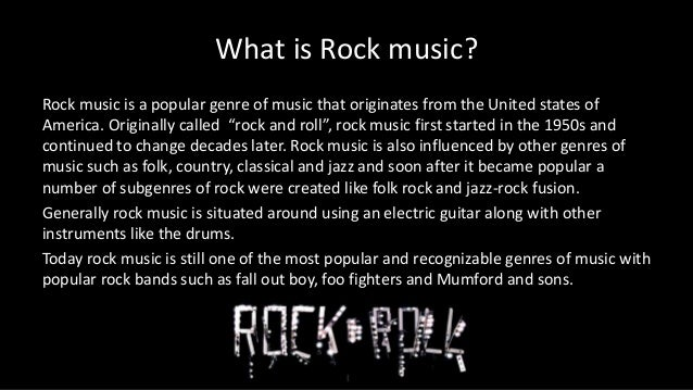 the characteristics of rock n roll a musical genre created in the 1950s Rock and roll as opposed to rock music incorporates the three main components  of music  the drums are vitally important in this music genre  what are some  50s rock and roll music  note that the time when rock n roll was created was  the time of technological changes, like the invention of the electric guitar, bass.