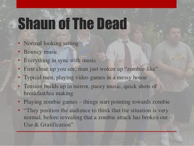 Shaun of The Dead  • Normal looking setting  • Bouncy music  • Everything in sync with music  • First close up you see, ma...