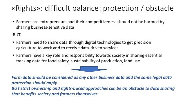 «Rights»: difficult balance: protection / obstacle • Farmers are entrepreneurs and their competitiveness should not be har...