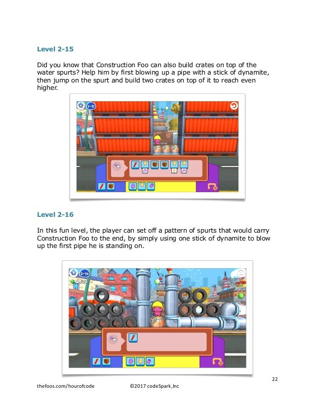 Level 2-15 Did you know that Construction Foo can also build crates on top of the water spurts? Help him by first blowing ...